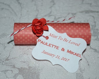 Mint Roll Wedding Favors // Mint Wedding Favor // Mint to Be Wedding Favors -- Red ---Quantity 25