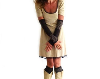 Arm cuff and leg cuff, Brown, beige with stripes, stripes