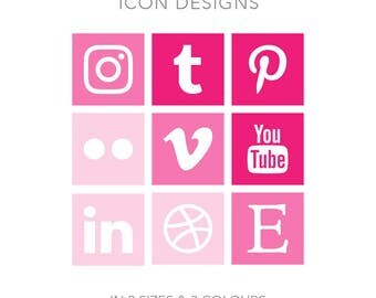 19 Square Social Media Buttons in 2 sizes and 3 colours - Instant Download - Pink