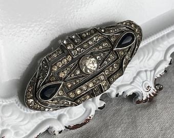 vintage sterling silver rhinestone brooch art deco paste gemstone sapphire classic jewelry