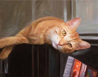 Memorial Cat Portrait Painting from Your Photo - Custom Oil Painting on Canvas