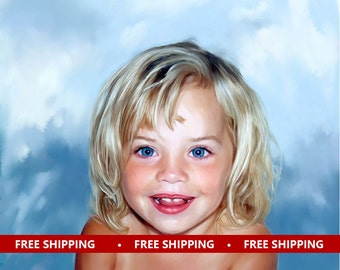 Custom Portrait Kids - Personalized canvas painting art from photo