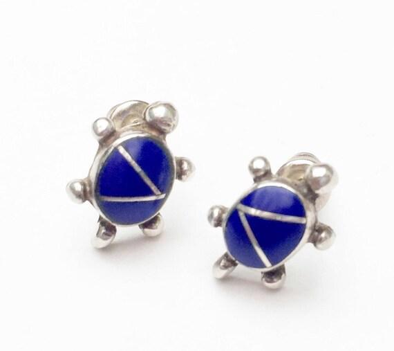Lapis Inlay Turtle  Earrings - Blue gemstone - Signed Sterling Silver - Stud earring