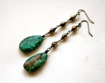 Raw Turquoise Dangle Earrings // Genuine Turquoise Drop Statement Earrings