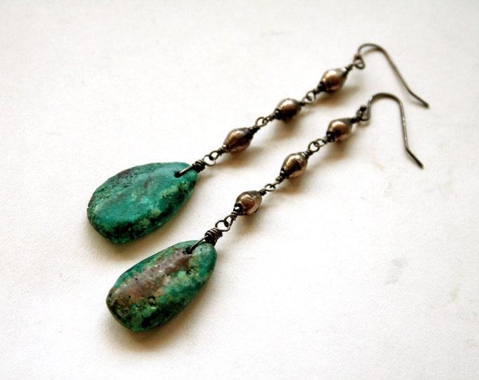 Raw Turquoise Dangle Earrings // Genuine Turquoise Drop Statement Earrings