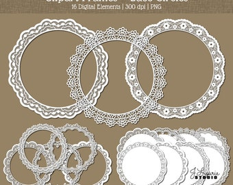Digital Clipart Frames-Lace-Circles-Doilies-Round Frames-Borders-White Lace-Wedding-Scrapbooking-Invitations-Instant Download Clip Art
