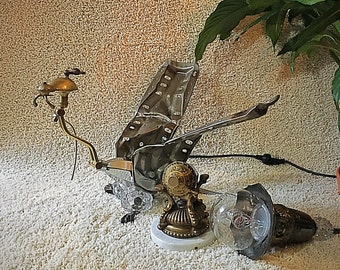 Dragon Lamp & Egg, Steel-Brass-Chrome Steampunk Lamp, Handcrafted Evening Lamp, Illuminating Sculpture, Dragonrider of Pern, Unique Lighting