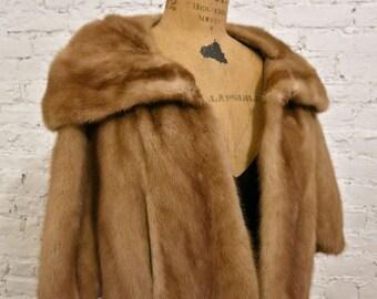 50s MINT Mink Fur Jacket Stole Cape
