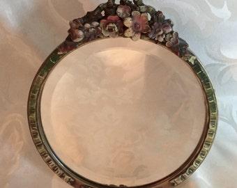 Barbola Mirror - Vintage Cottage Chic English Barbola Mirror