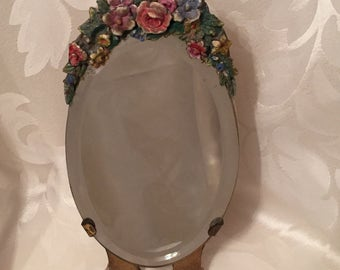 Barbola Mirror - Antique English Country Cottage Chic Dressing Table Mirror - Beautiful