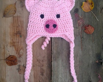 Crochet Pig Hat, baby piggy, toddler pig hat, pig hat photo prop, piggy hat, beanie, pig hat, pig baby piggy, baby hat, toddler hat, piggy