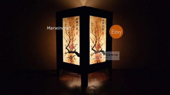 Asian Oriental Japanese Cherry Blossom Trees Zen Art Bedside Desk Table Lamp or Bedside Paper Light Shades Furniture Wedding Gift Home Decor
