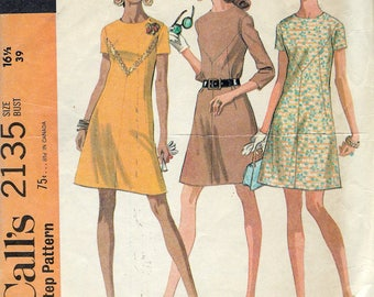 """Vintage 1969 McCall' s 2135 Mod Dress In Three Versions In Half Sizes Sewing Pattern Size 16 1/2 Bust 39"""""""