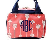 Monogramed Lunch Tote Coral Arrow Print navy handle/ piping/Free Monograming or Personalization