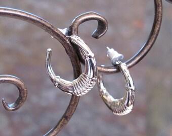 Vintage Huggie Earrings ~ Tailored Designer Style ~ Small Petite Hoops ~ Pierced Post Hoop Earrings ~ Silver-Plated - Hypo Allergenic