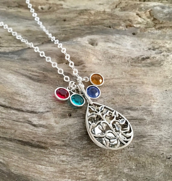 Grandmother's Necklace, Family Tree Sterling Silver, Hand Stamped Jewelry,Mother's Necklace, Personalized Birthstone Family Necklace