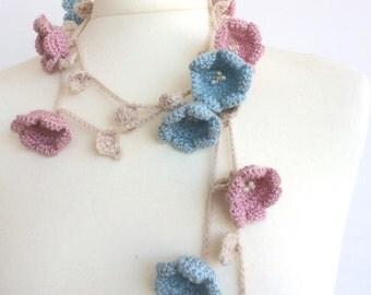 Crochet Necklace, Flower Wrap Scarf, Pastel Skinny Scarf, Beaded Long Lariat, Boho Wrap Scarf, Lily Flower Necklace, Women's Gift, ReddApple