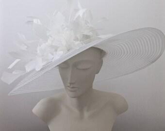 Kentucky Derby Hat White, Black or Red Derby Hat WIDE BRIM Hat