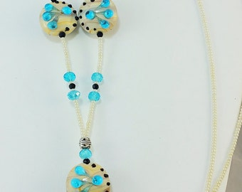 Beaded Lanyard Blue Glass on Cream Black dots Lampwork Beads Blue Crystals - Gift Friend Nurse Teacher Worker - Unique ID - LQ Expressions