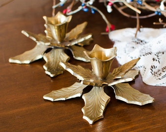 Rustic Brass Leaf Candlestick Holders (Set of 2) - Woodland Holiday Holly / Poinsettia Leaves - Vintage Home Decor