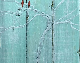 Reclaimed Wood Out on A Limb Two Birds - White Tree - Mixed Media On Wood By Rafi