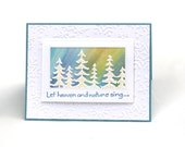 Northern lights holiday card, aurora borealis Christmas card, pine trees, nature inspired embossed card,