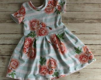 Girls Summer Dress, Toddler Dress, Striped Floral Dress, Flower Girl Dress, Peplum Top, Girl Spring Dress, Baby Dress, Baby Maxi, Hi low Top