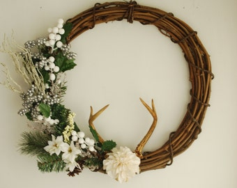 Large Floral Real Deer Antler Wreath - Christmas Winter Holiday White Grapevine Pinecones Silver Berry Taxidermy Antlers Green Door Decor