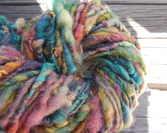 Hand spun, hand painted bfl fleece yarn - thick and thin - bulky art yarn - 58 yards, 6.1 oz.