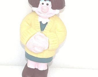 Vintage 3D Wendoline Cake Topper, Wendoline from Wallace & Gromit figure New