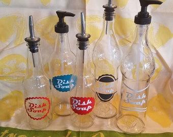 DIY Retro Soda Bottle DISH Soap Dispenser (You choose design/color) Dishsoap Pour Spout or Pump Vintage Inspired Soda Bottle 12 or 16 oz ONE