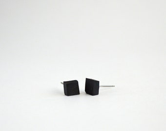Black Porcelain Square Stud Earrings