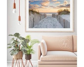 Beach Path Photo, Large Beach Panorama, Rhode Island Photography, Newport RI Photograph, Ocean Sea Artwork, Dunes Sunset Picture Blue Orange
