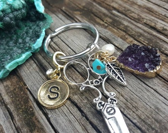 Hair Stylist Personalized Gold Initial and Charmed Scissor Cosmetologist Keychain Gift