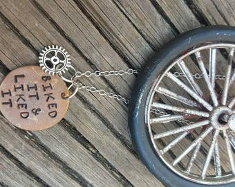 Hand Stamped Bicycle Lovers Necklace // Gear Accent Bead // Biked It and Liked It