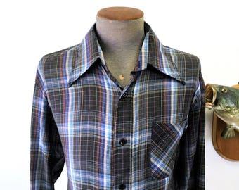 1970s Black Plaid Shirt Mens Vintage Long Sleeve Colorful Cotton, Polyester Blend Plaid Shirt by National Shirt Shops - Size XL