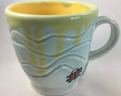 Pottery Mug, Ceramic Mug, Hand Carved Mug, Handmade Mug, One of a kind Mug, Lady Bug Mug, Mug, Coffee Mug, Tea Mug, Coffee Cup, Tea Cup, Cup