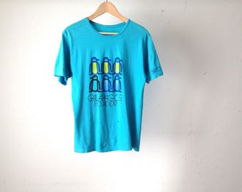 vintage GALAPAGOS faded blue scoop neck t-shirt top vintage 80s top