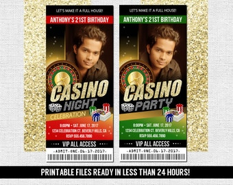 Casino Night Ticket Invitation - Birthday Party Personalized Printable Files with Photo - 21st - Any Age - Any Event - Poker Fundraiser