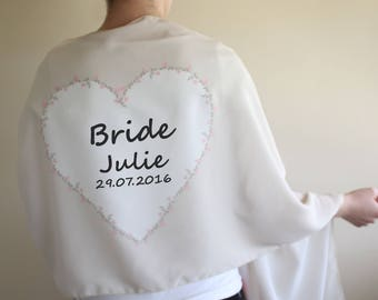 Personalized Wedding Shawl Bridesmaid Scarf Mother of Bride Gift From Groom Bridesmaid Gift Maid of Honor Bridal Party Gifts Wedding Favors