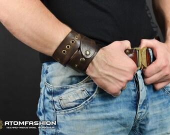 Wasteland dweller tribal post-apocalyptic leather wristband