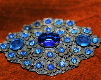 Antique Art Deco Blue Czech Frosted Glass Filigree Flower Large Brooch BU20