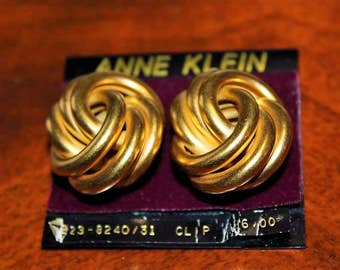 ANNE KLEIN Designer Couture High End NOS Massive Matte Magnificent Earrings