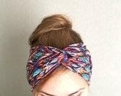 Boho Headband, Yoga turban, Ethnic turban, Twist headband, Southwestern, Workout Headwrap for women purple bright multicolor