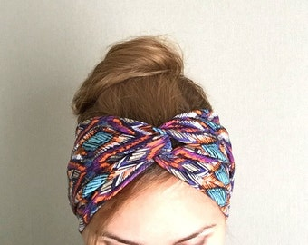 Boho Headband, Yoga turban, Ethnic turban, Twist headband, Southwestern, Workout Headwrap for women purple bright multicolor