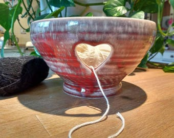 Pottery Yarn Bowl UK Knitting Bowl Handmade - Copper Reds - ready to ship