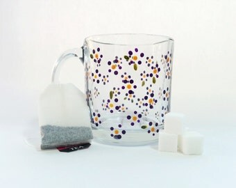 Hand Painted Glass Mug - Posies - Translucent Purple Flowers with Yellow Centers and Green Leaves on a Clear Glass Mug