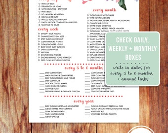 The Household Cleaning List Printable PDF Daily Monthly Year Floral Watercolor Clean House
