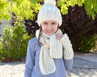 Kids Knit Scarf Hat Gloves Set // The Nordvik // in Fisherman