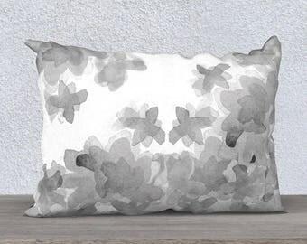 Gray Pillow Case, Gray Throw Pillow, Gray Floral Pillow, Gray Lumbar, 14x20 18x18, Gray Pillow Cover, Gray Nursery Pillow, Watercolor Pillow